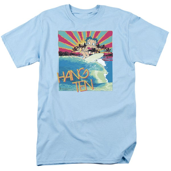 Boop/Hang Ten Short Sleeve Adult T-Shirt 18/1 in Light Blue
