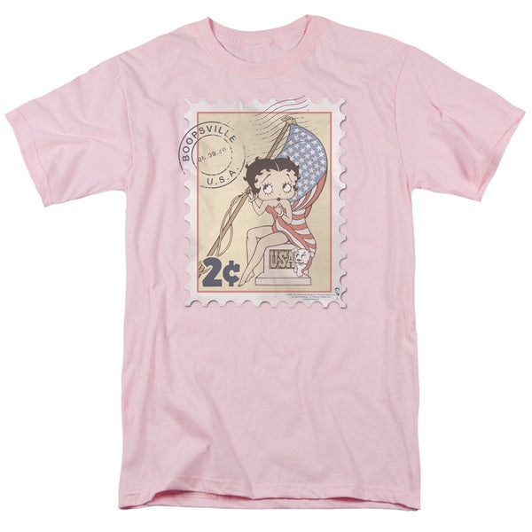 Boop/Vintage Stamp Short Sleeve Adult T-Shirt 18/1 in Pink