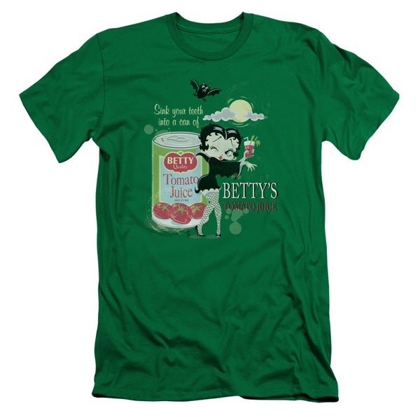 Boop/Vampire Tomato Juice Short Sleeve Adult T-Shirt 30/1 in Kelly Green