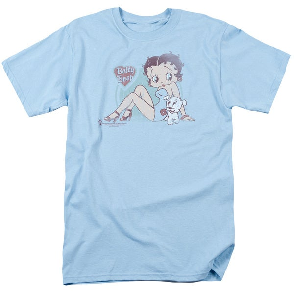Boop/Vintage Pin Pup Short Sleeve Adult T-Shirt 18/1 in Light Blue