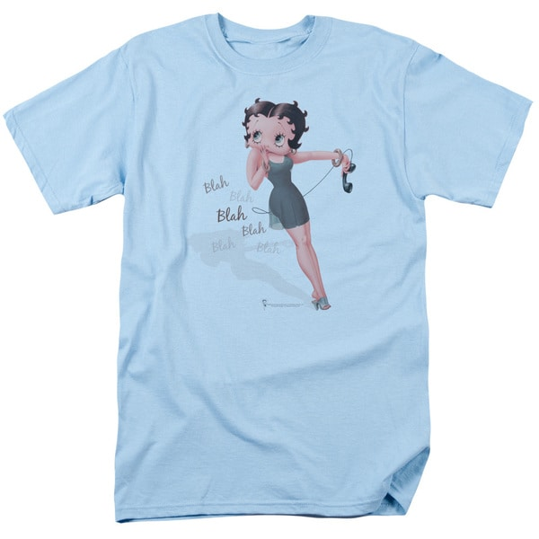 Boop/Blah Blah Blah Short Sleeve Adult T-Shirt 18/1 in Light Blue