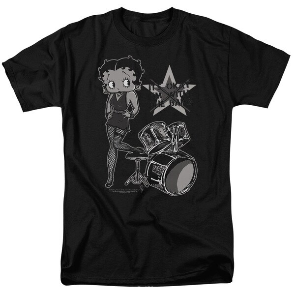 Boop/With The Band Short Sleeve Adult T-Shirt 18/1 in Black