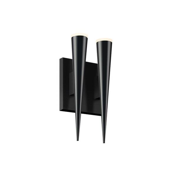 Sonneman Lighting Micro Double Cone Satin Black LED Wall Sconce