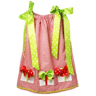 Girls' Red and Lime Gingham Gift Box Swing Dress
