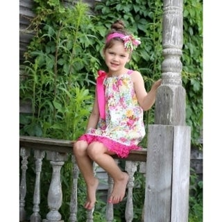 Girls' Hot Pink Cotton/Polyester Floral and Lace Swing Dress