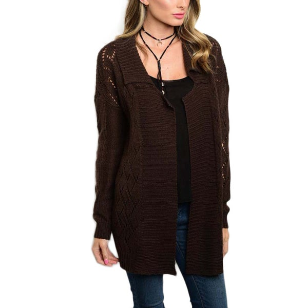 JED Women's Brown/Black Knitted Mohair Blend Long-sleeve Cardigan