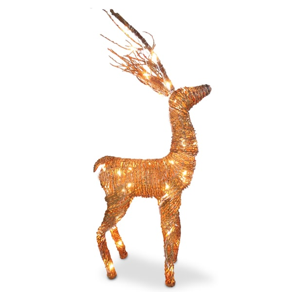 Rattan 40-inch Reindeer With Clear Lights