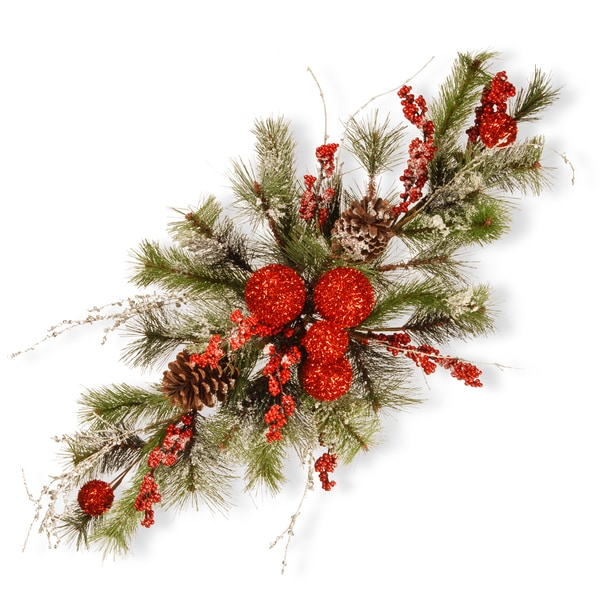Evergreen/White Sprigs/Red Berries/Pinecones 32-inch Christmas Centerpiece