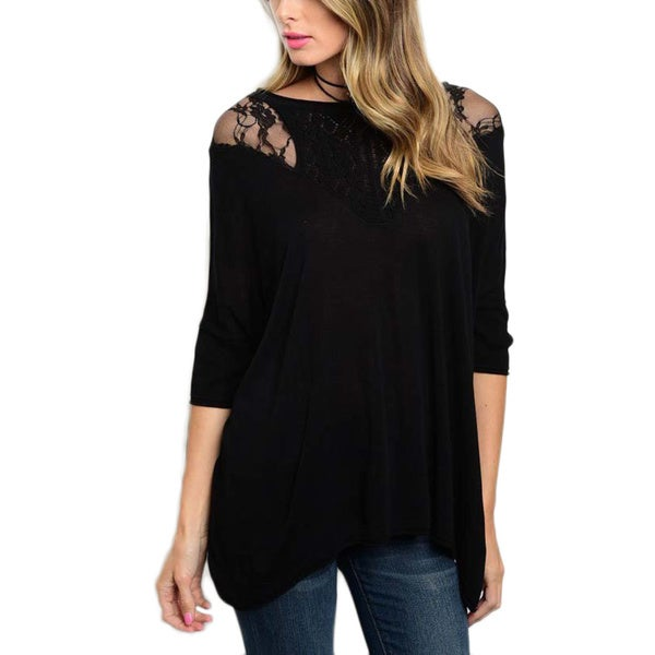 JED Women's 3/4-sleeve Crochet and Lace Inset Tunic Top
