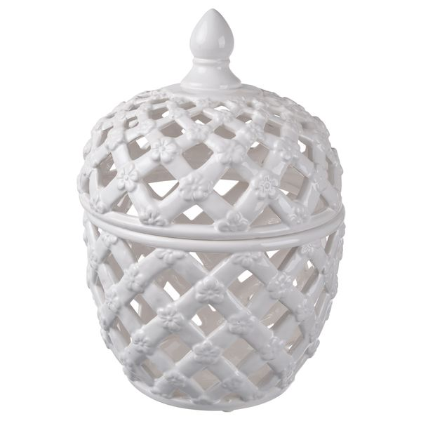 White Ceramic 11-inch High x 8-inch Diameter Lidded Jar