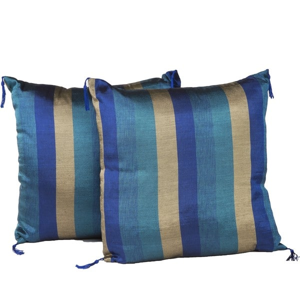 Set of Two Indigo and Gold Throw Pillows (Morocco)