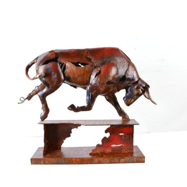 Urban Port Raging Bull Metal Sculpture