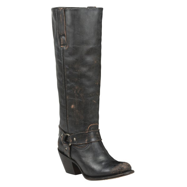 Black Star Women's VEGA Black Leather Distressed Knee-high Cowboy Boots