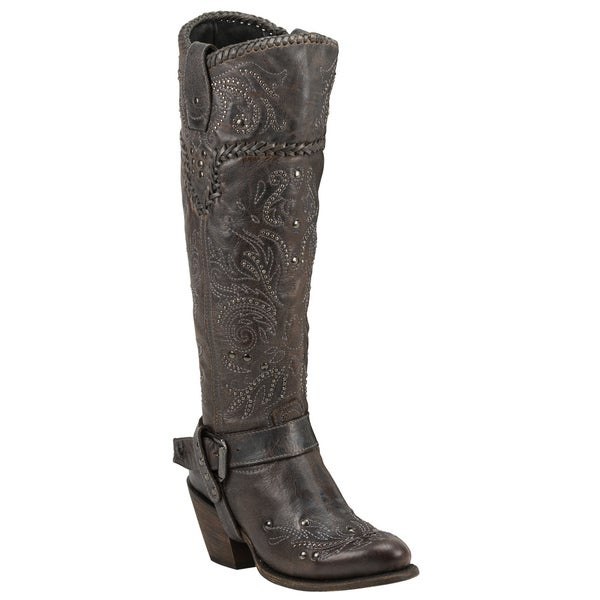 Black Star Andromeda Grey Leather Cowboy Boots
