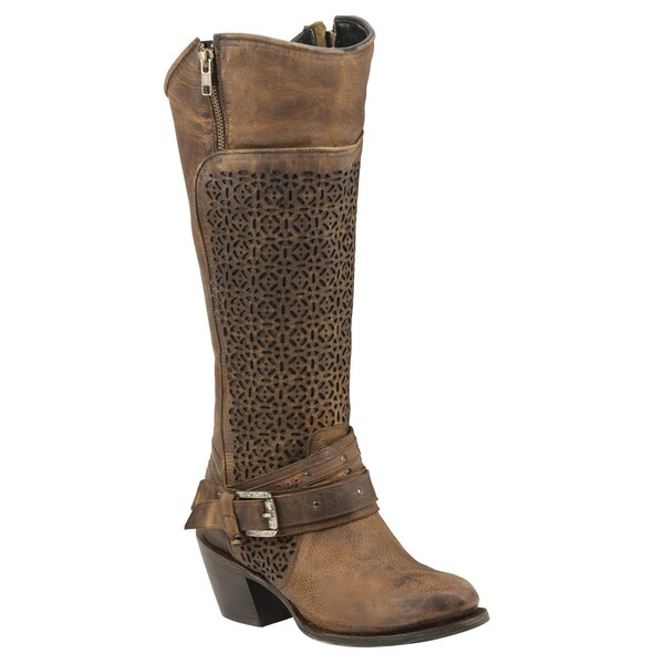 Black Star Women's Centaurus Tan Leather Knee-high Cowboy Boots