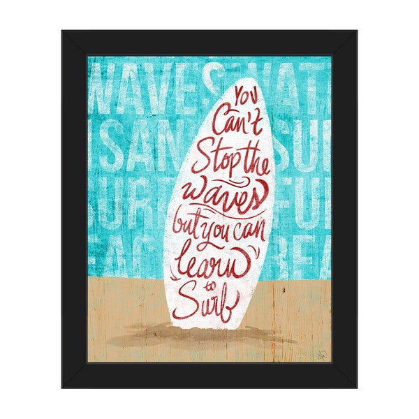 'You Can't Stop the Waves' Framed Canvas Wall Art