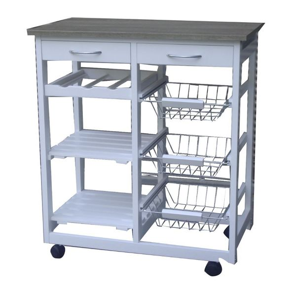 Urban Port White MDF Modern Kitchen Cart Trolley With Drawers