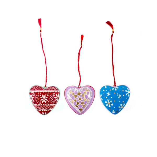 Set of 3 Kashmir Painted Heart Ornaments (India)