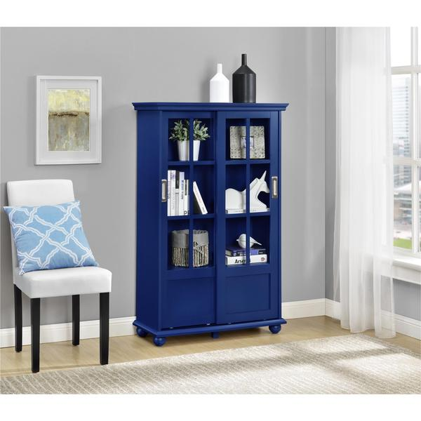altra aaron lane navy bookcase with sliding glass doors