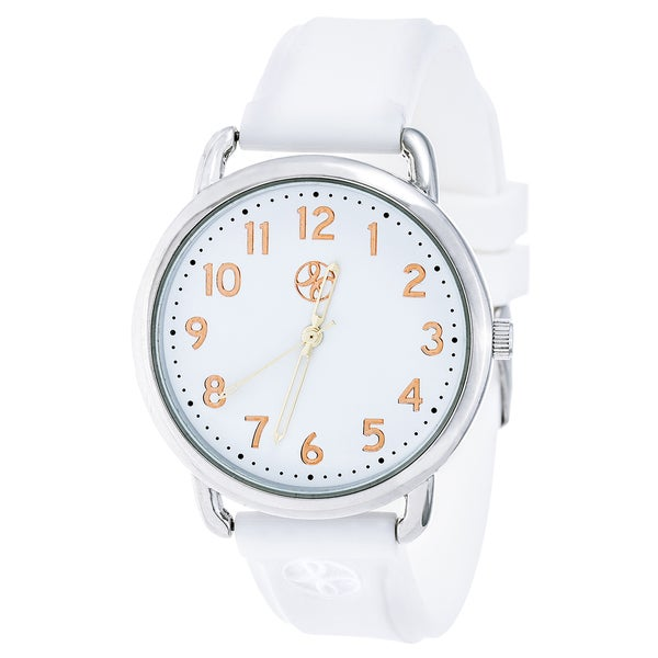 Fortune NYC Silver Alloy Case w/ Stainless Steel Back and White Imprinted Silicon Strap Watch