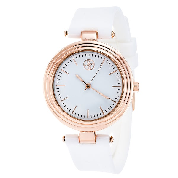 Fortune NYC Rose-Gold Alloy Case w/ Stainless Steel Back and White Silicon Strap Watch