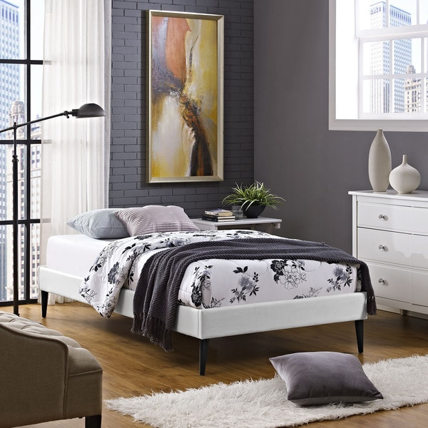 Sherry White Vinyl Twin Bed Frame With Round Tapered Legs
