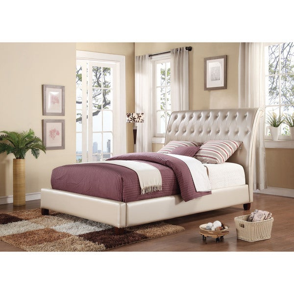 Pitney Sleigh Bed, Pearl PU