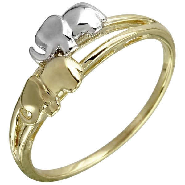 14-karat White/Yellow Gold Size 7 Twin Elephant Ring