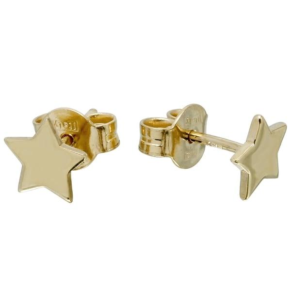 14K Italian Gold Star Earrings 20643611