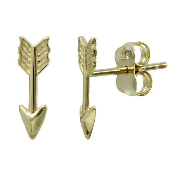 14k Yellow Gold Arrow Stud Earrings