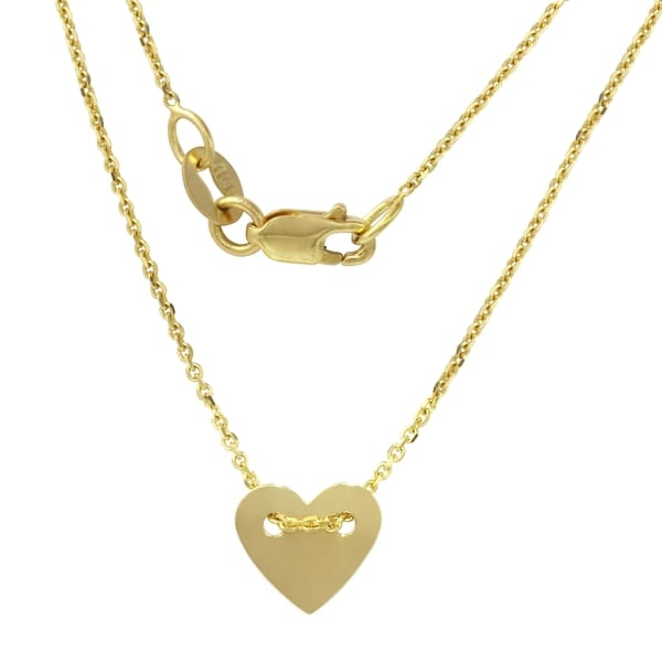 14k Yellow Gold Engraveable Small Heart Disc Necklace