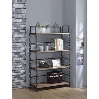 Jodie Industrial Style Bookshelf, Rustic Oak & Antique Black