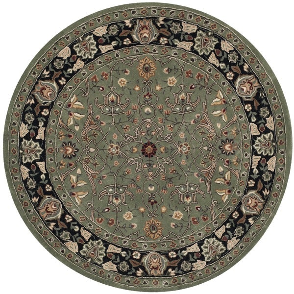 Safavieh Hand-hooked Total Performance Green / Black Acrylic Rug (8' Round)