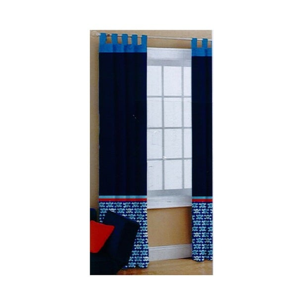 Heritage Kids Blue/Red Polyester Pirate One Curtain Panel Pair