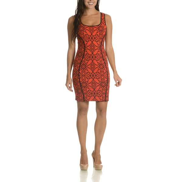 Lotus Threads Women's Orange/Multicolor Nylon/Polyester Star Print Tank Dress