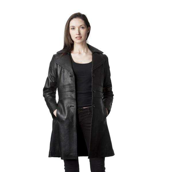 Mason & Cooper Women's Black Leather Trench Jacket