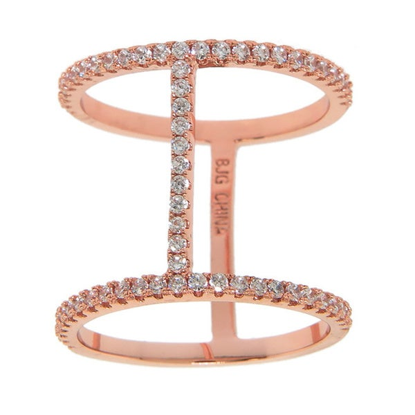 Eternally Haute 14K Rose Gold-plated Pave Line Cage Ring