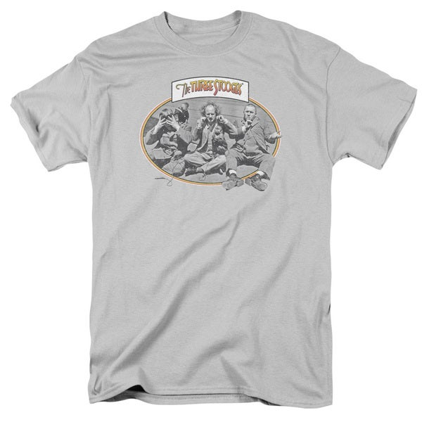 Three Stooges/Monkey See Short Sleeve Adult T-Shirt 18/1 in Silver