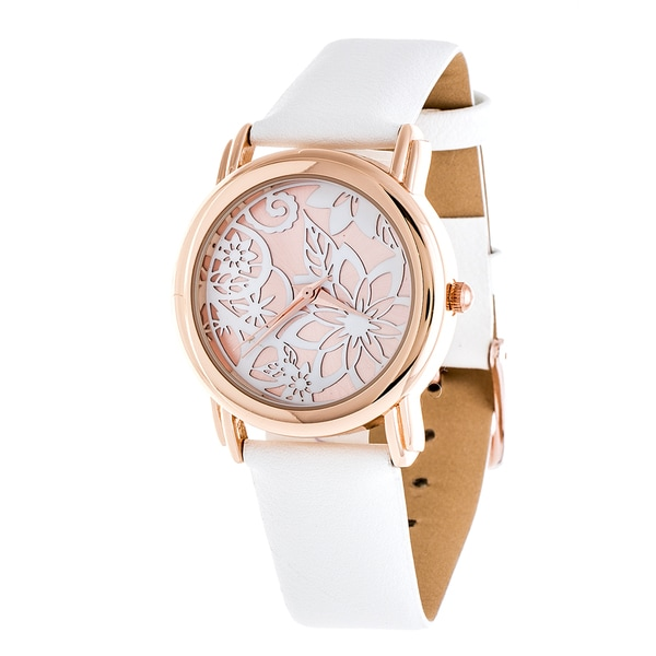 Fortune NYC Rose Gold Case and White Leather Strap Watch