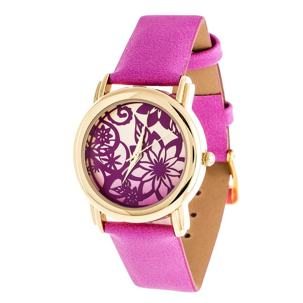 Fortune NYC Gold Case and Pink Leather Strap Watch