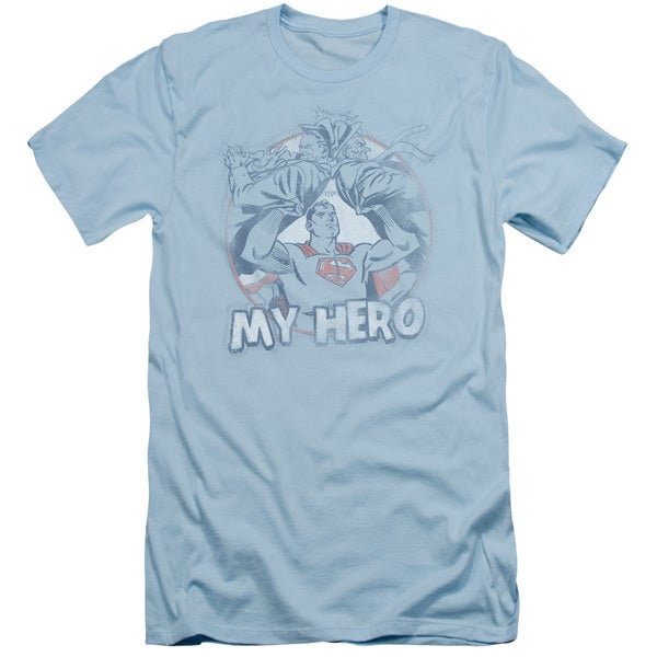 Superman/My Hero Short Sleeve Adult T-Shirt 30/1 in Light Blue