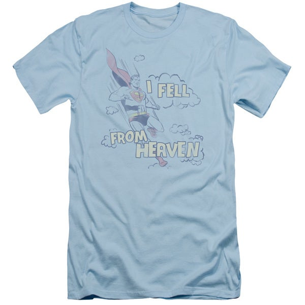 Superman/I Fell Short Sleeve Adult T-Shirt 30/1 in Light Blue