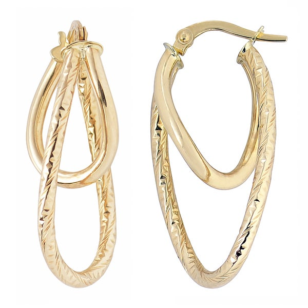 Fremada Italian 14k Yellow Gold High Polish and Diamond-cut Finished Double Oval Hoop Earrings 20657432