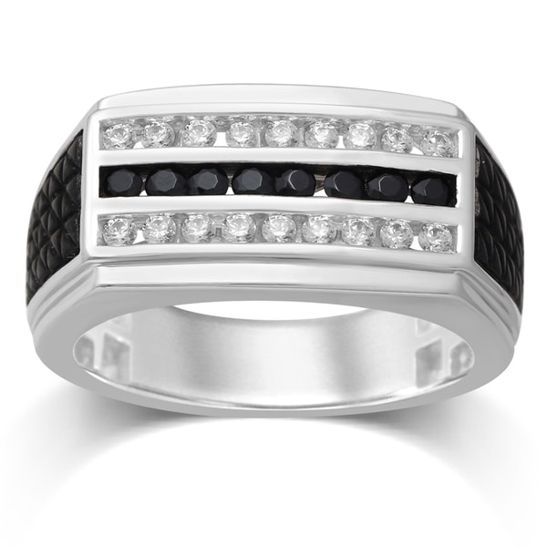 Unending Love 10k White Gold White and Treated Black Diamond Channel Setting Ring