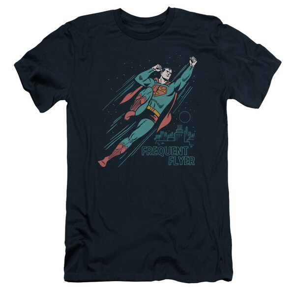 Superman/Frequent Flyer Short Sleeve Adult T-Shirt 30/1 in Navy