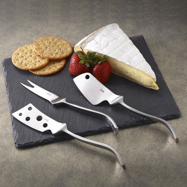 Modern Cheese knives set with slate board