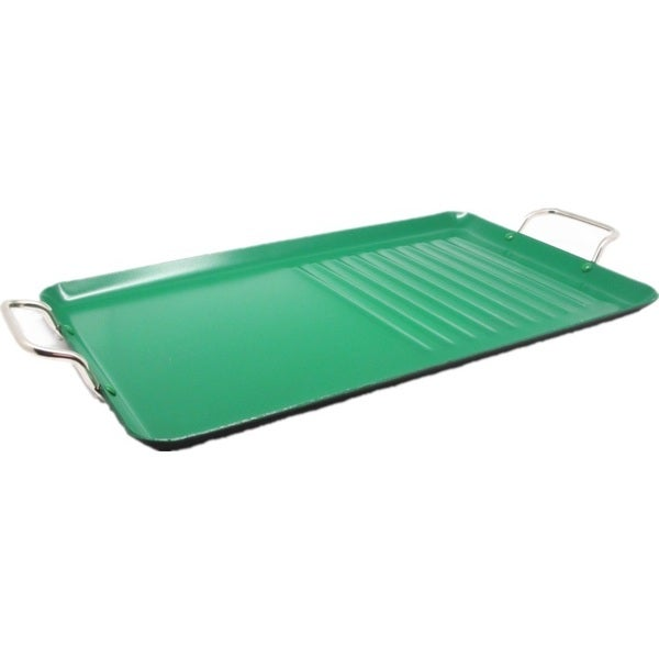 Wee Healthy Green Ceramic/Aluminum Double-handle Griddle