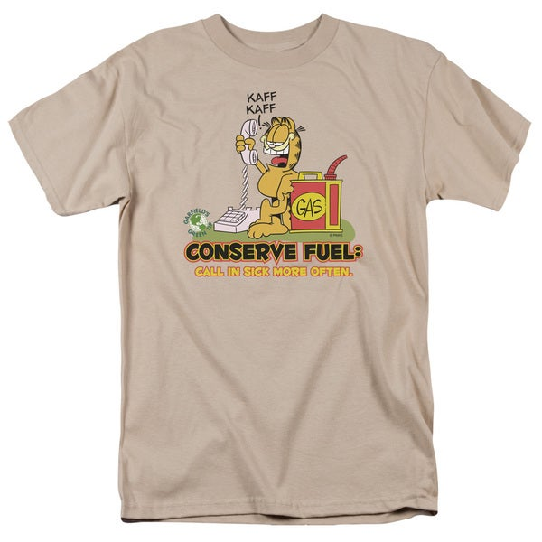 Garfield/Call in Sick Short Sleeve Adult T-Shirt 18/1 in Sand