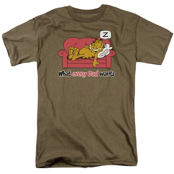Garfield/What Every Dad Wants Short Sleeve Adult T-Shirt 18/1 in Safari Green