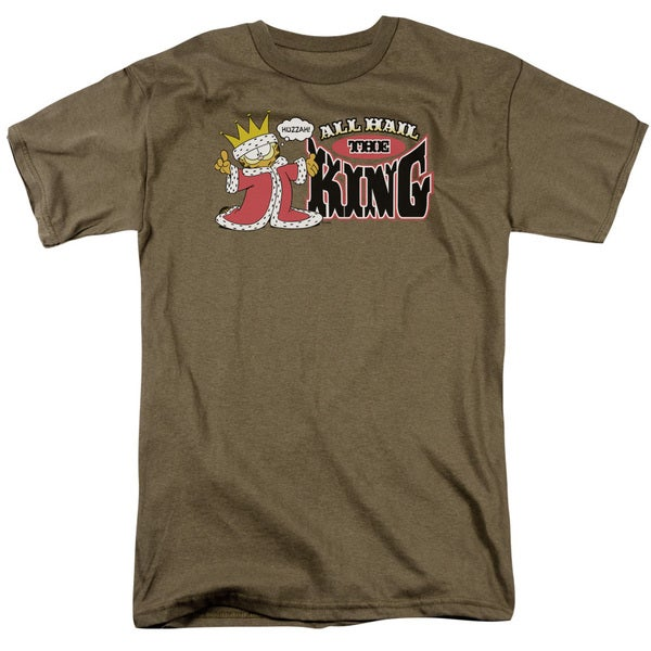 Garfield/All Hail The King Short Sleeve Adult T-Shirt 18/1 in Safari Green